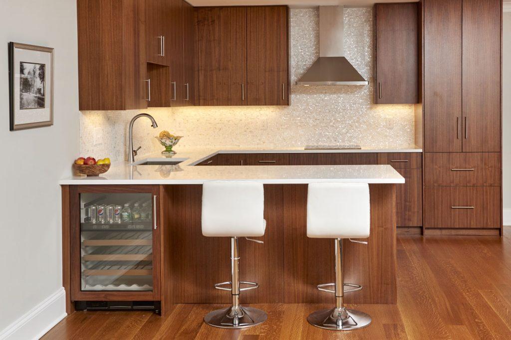 Home · Portfolio Gallery; Modern Connecticut Kitchen Walnut Cabinetry