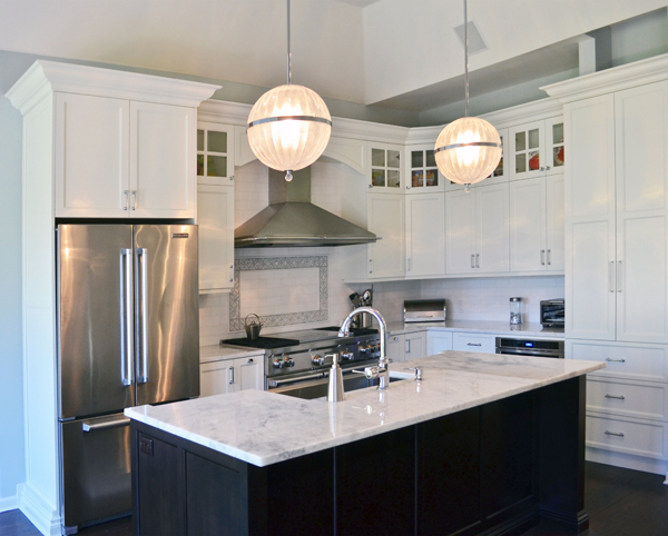 Transitional Kitchen with Double Stacked Cabinets - Maria Matluck ...